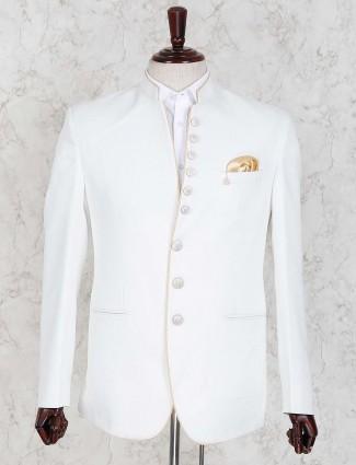 Terry rayon fabric solid white color jodhpuri blazer