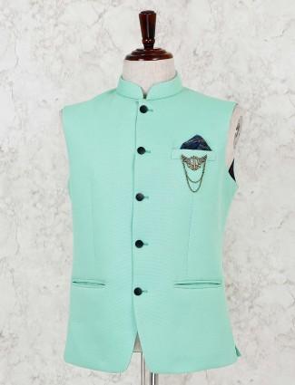 Terry rayon green party wear waistcoat