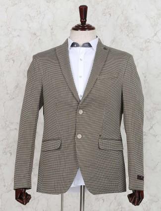 Terry rayon printed khaki colored blazer