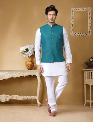 Terry rayon rama green and white designer waistcoat set