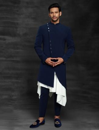 Terry rayon royal blue indo western wedding wear