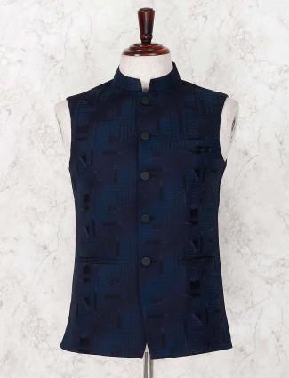 Texture navy hue terry rayon waistcoat