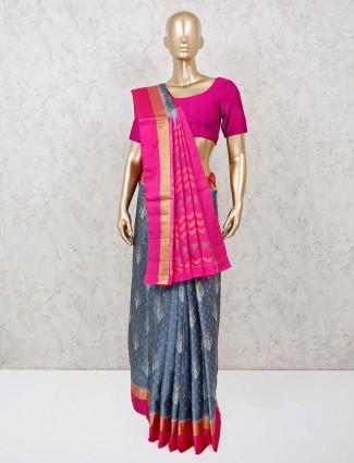 Thread and zari woven grey patola silk saree