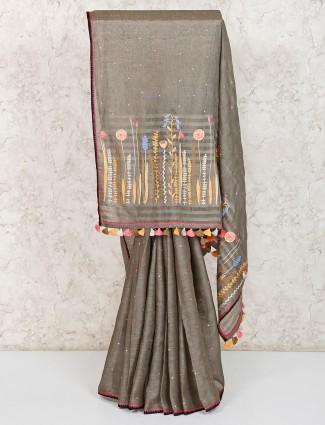 Thread embroidered linen grey saree