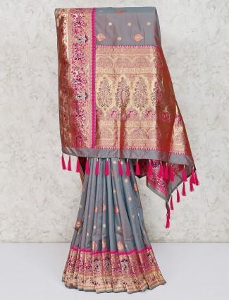 Thread weaving grey semi silk saree