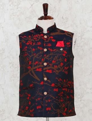 Thread weaving navy silk waistcoat