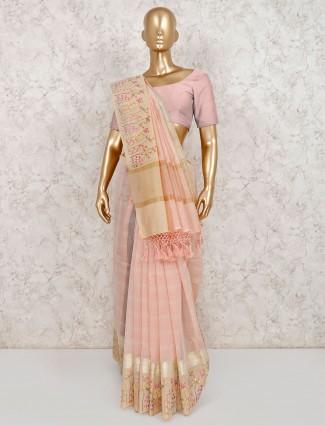 thread weaving peach cotton saree