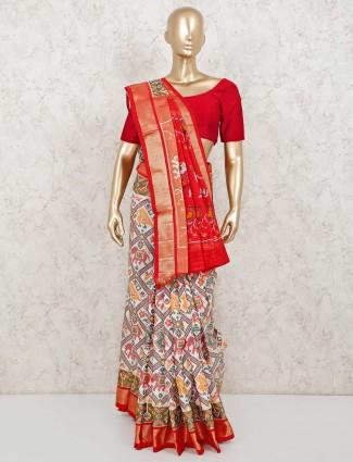 Thread weaving white patola silk saree