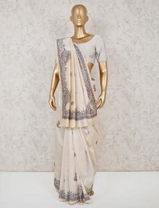 Thread work cream cotton sari