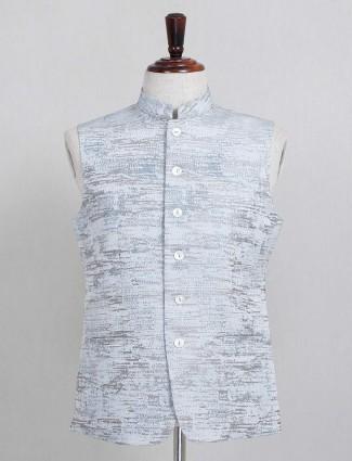 Thread woven grey cotton silk waistcoat