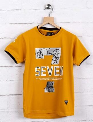 Timbuktu mustard yellow printed t-shirt