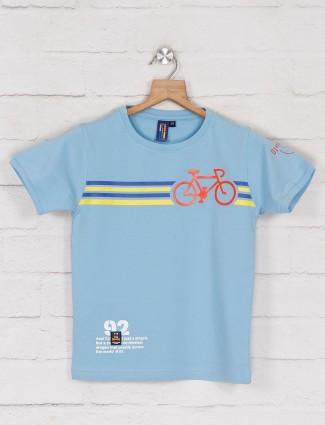 Timbuktuu printed blue half sleeve t-shirt
