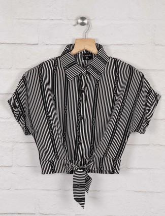 Tiny Girl black hue stripe pattern top
