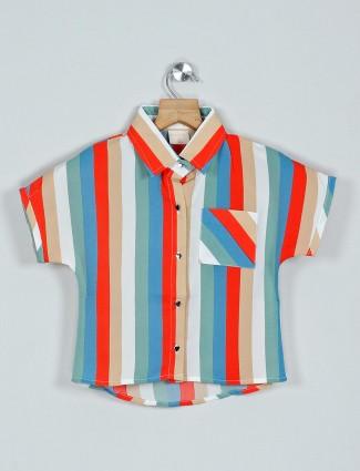 Tiny Girl orange and white stripe cotton casual top