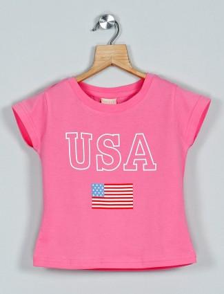 Tiny Girl printed pink cotton top