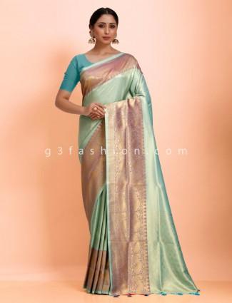 Traditional aqua wedding wear exclusive art kanjivaram silk saree