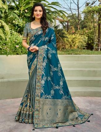 Traditional designer half and half saree for wedding