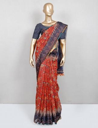 Trending orange cotton festive wear saree