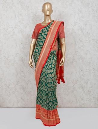 Trendy green banarasi silk saree