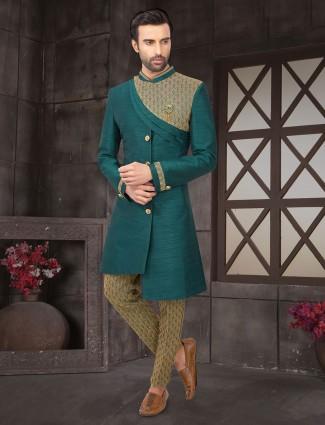 Trendy green raw silk indo western for mens