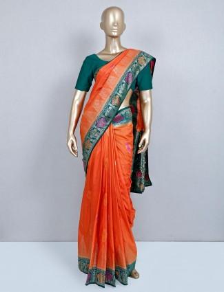 Trendy orange semi silk wedding wear saree