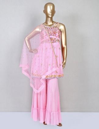 Trendy pink wedding wear palazzo suit