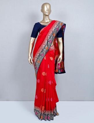 Trendy red wedding wear semi silk saree
