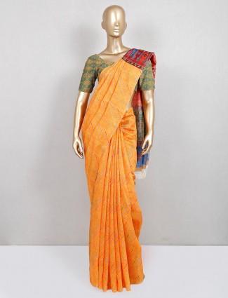 Trendy yellow cotton festive wear saree