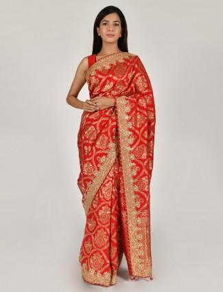Tussar silk beautiful red designer saree