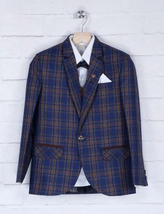 Tweed pattern blue terry rayon coat suit