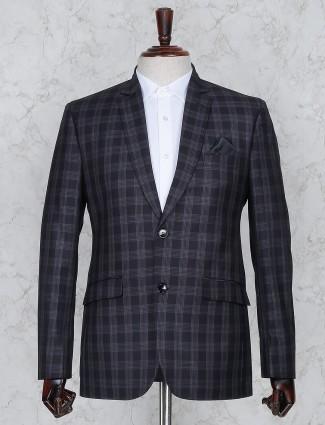 Tweed pattern navy hue terry rayon coat suit