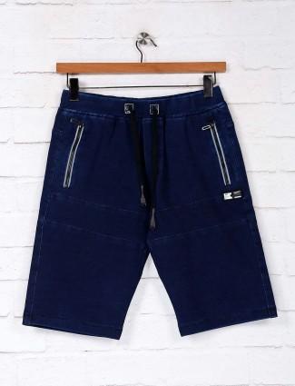 TYZ cotton navy solid mens short