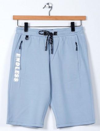 TYZ solid blue cotton slim fit shorts