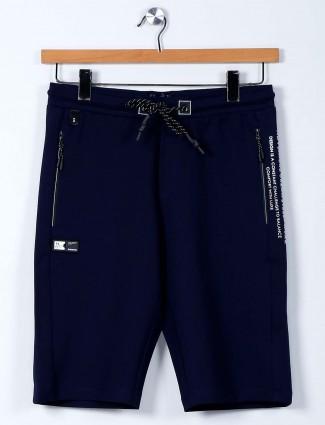 TYZ solid dark blue color cotton lycra shorts