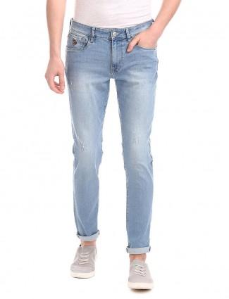U S Polo Assn light blue solid slim fit jeans