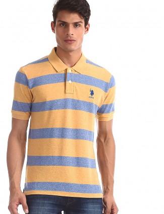U S Polo Assn mustard yellow and blue stripe t-shirt