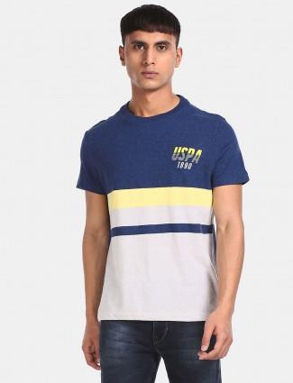U S Polo Assn navy cotton stripe t-shirt