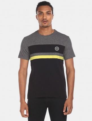 U S Polo Assn stripe black cotton t-shirt