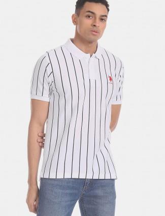 U S Polo Assn stripe white cotton t-shirt