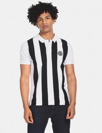 U S Polo Assn white and black stripe mens t-shirt