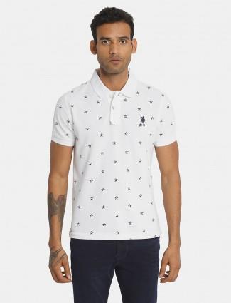 U S Polo Assn white printed cotton polo mens t-shirt