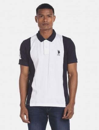 U S Polo Assn white solid cotton t-shirt