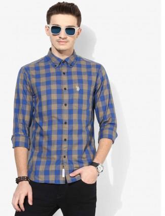 美国Polo蓝色格纹修身衬衫