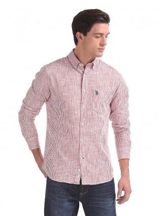 美国Polo格子图案休闲粉红色衬衫