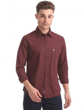 美国Polo栗色棉质衬衫