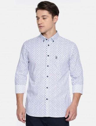 美国Polo白色印花休闲衬衫