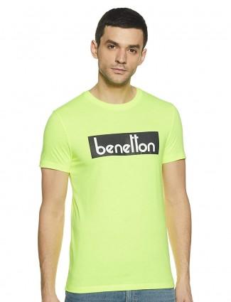 UCB light green printed casual t-shirt