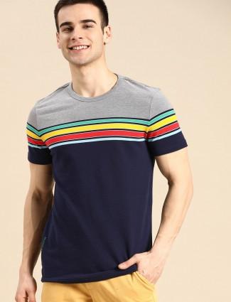 UCB navy casual wear stripe t-shirt