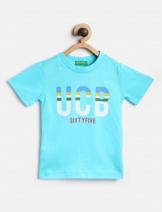 UCB printed aqua half sleeves t-shirt