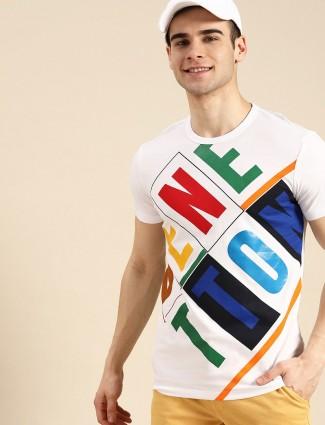 UCB printed white slim fit cotton t-shirt